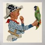 Niño del vintage, muchacho que juega el pájaro del poster
