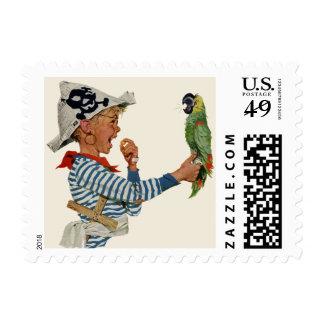 Niño del vintage, muchacho que juega el pájaro del sellos