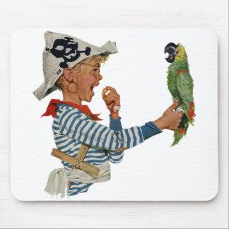 Niño del vintage muchacho que juega el pájaro del tapetes de ratones