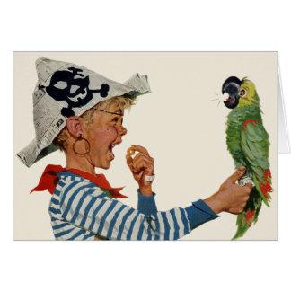 Niño del vintage, muchacho que juega el pájaro del tarjeta de felicitación
