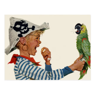 Niño del vintage, muchacho que juega el pájaro del tarjeta postal