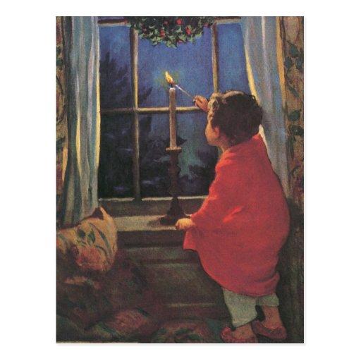 Niño del vintage, Nochebuena, Jessie Willcox Smith Postal