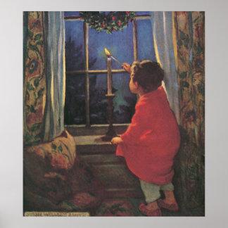 Niño del vintage, Nochebuena, Jessie Willcox Smith Póster