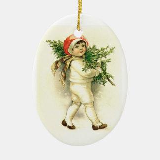 Niño del vintage ornamento de cerámica del navida ornamento para arbol de navidad