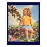 Niño del vintage, pájaros de observación del chica anuncio personalizado
