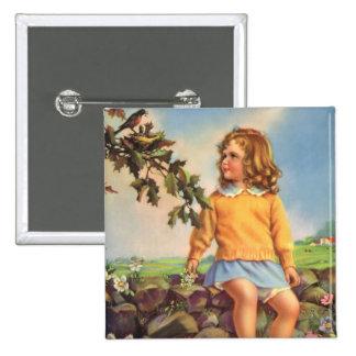 Niño del vintage, pájaros de observación del chica chapa cuadrada 5 cm