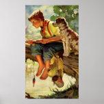 Niño del vintage, pesca del muchacho con su Mutt d Posters