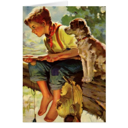 Niño del vintage, pesca del muchacho con su Mutt d Felicitacion