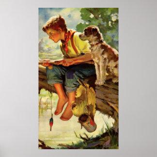 Niño del vintage, pesca del muchacho con su Mutt Póster