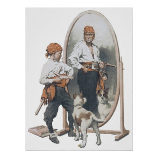 Niño del vintage, pirata del muchacho, perro, espe posters