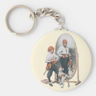 Niño del vintage, pirata del muchacho, perro, llavero redondo tipo chapa