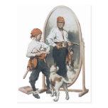 Niño del vintage, pirata del muchacho, perro, postal