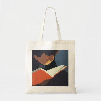 Niño del vintage que lee un libro de la biblioteca bolsa tela barata
