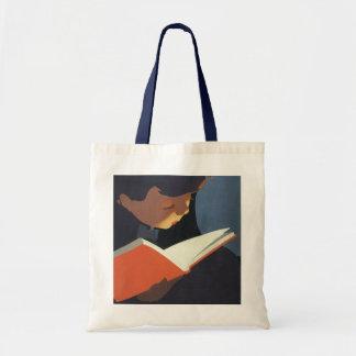 Niño del vintage que lee un libro de la biblioteca bolsas lienzo