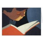 ¡Niño del vintage que lee un libro, de nuevo a Felicitación