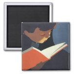 ¡Niño del vintage que lee un libro, de nuevo a tie Imán De Frigorifico