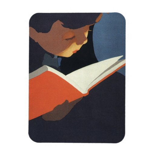 ¡Niño del vintage que lee un libro, de nuevo a tie Imán Flexible