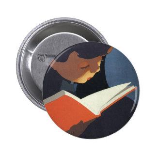 ¡Niño del vintage que lee un libro, de nuevo a tie Pin
