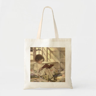 Niño del vintage que lee un libro, Jessie Willcox Bolsa Tela Barata