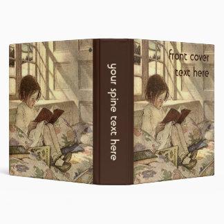 """Niño del vintage que lee un libro, Jessie Willcox Carpeta 1 1/2"""""""