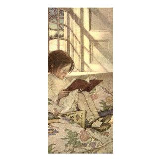 """Niño del vintage que lee un libro, Jessie Willcox Folleto Publicitario 4"""" X 9"""""""