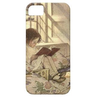 Niño del vintage que lee un libro Jessie Willcox iPhone 5 Case-Mate Cárcasas