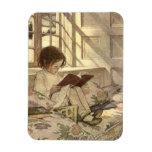 Niño del vintage que lee un libro, Jessie Willcox  Imanes