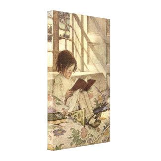 Niño del vintage que lee un libro, Jessie Willcox  Impresión En Lienzo Estirada