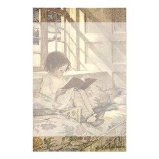 Niño del vintage que lee un libro, Jessie Willcox Papeleria De Diseño