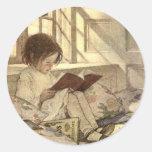 Niño del vintage que lee un libro, Jessie Willcox  Pegatina