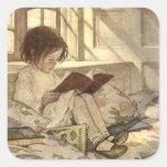 Niño del vintage que lee un libro, Jessie Willcox Colcomania Cuadrada