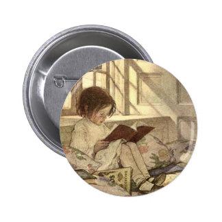 Niño del vintage que lee un libro Jessie Willcox Pin