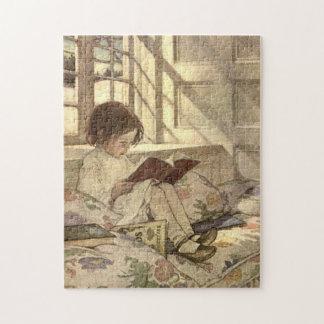 Niño del vintage que lee un libro Jessie Willcox Puzzles Con Fotos