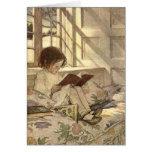 Niño del vintage que lee un libro, Jessie Willcox  Tarjetón