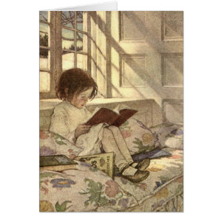 Niño del vintage que lee un libro, Jessie Willcox Tarjeta De Felicitación