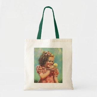 Niño del vintage, sonrisa feliz, chica con el bolsa tela barata