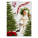 Niño del vintage y Felices Navidad de Jack Russell Tarjetas