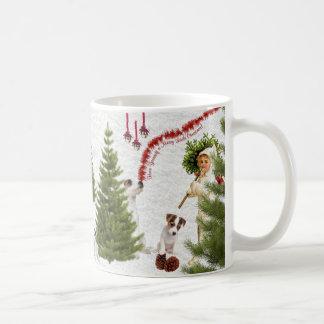 Niño del vintage y Felices Navidad de Jack Russell Taza De Café