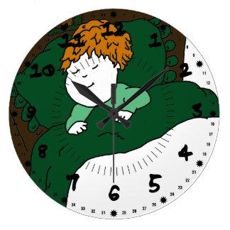Niño durmiente reloj redondo grande