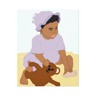 Niño e impresión estirada peluche de la lona lienzo envuelto para galerías