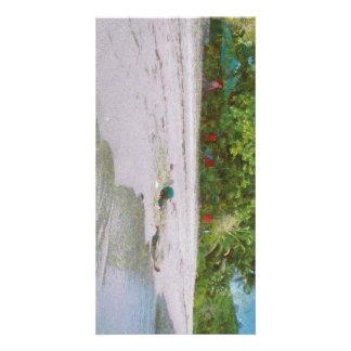 Niño en arena tarjetas fotográficas personalizadas