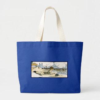 Niño en arte del vintage de la playa bolsa tela grande
