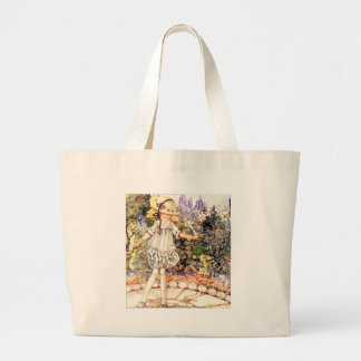 Niño en jardín bolsa tela grande