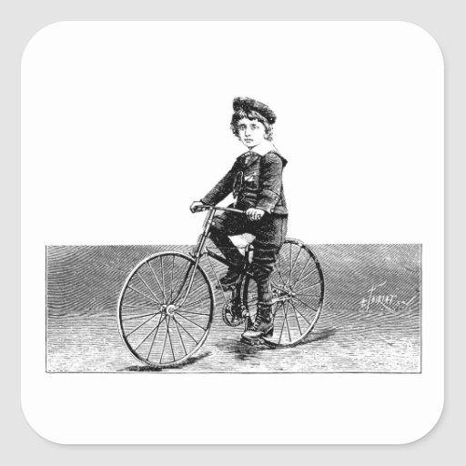 Niño en la bici - ejemplo de la bicicleta del vint calcomanías cuadradas
