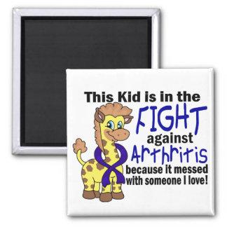 Niño en la lucha contra artritis imán cuadrado
