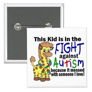 Niño en la lucha contra autismo pin cuadrado