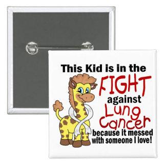 Niño en la lucha contra cáncer de pulmón pin cuadrado