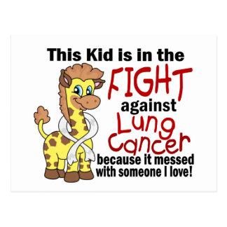 Niño en la lucha contra cáncer de pulmón postal