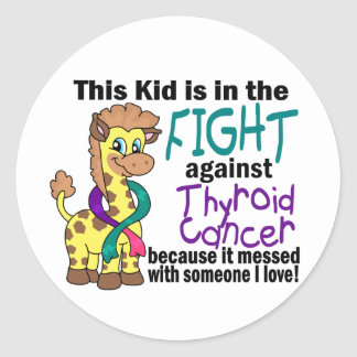 Niño en la lucha contra cáncer de tiroides pegatina redonda