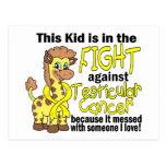 Niño en la lucha contra cáncer testicular tarjeta postal